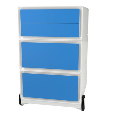 EasyOffice Storage Cabinet Color: White/Blue