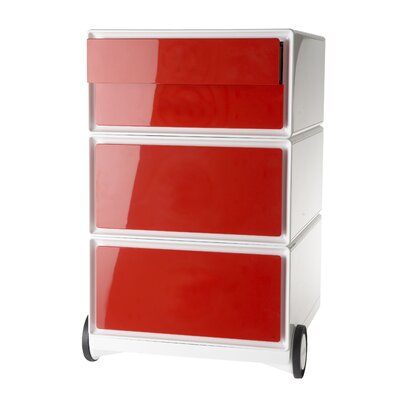 EasyOffice Storage Cabinet Color: White/Red