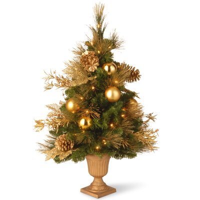 National Tree Co. 3' Green Elegant Entrance Artificial Christmas Tree with 50 Pre-Lit Clear Lights with Urn Base
