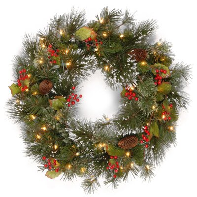 Wintry Pine Pre-Lit Wreath with 50 Battery-Operated White LED Lights