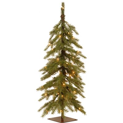 Nordic 3' Green Spruce Cedar Artificial Christmas Tree with 50 Warm White LED Lights