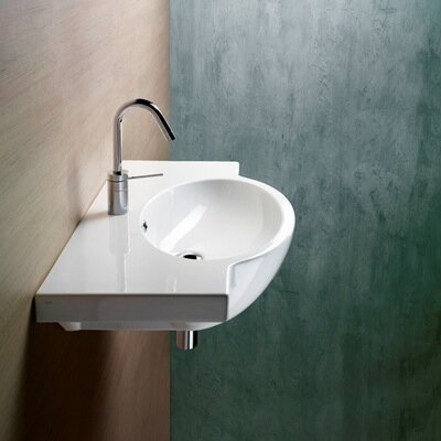 """Panorama Ceramic 32"""" Wall Mount Bathroom Sink with Overflow Faucet Mount: Single Hole"""