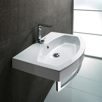 Losagna Ceramic U-Shaped Drop-In Bathroom Sink with Overflow Faucet Mount: Single Hole
