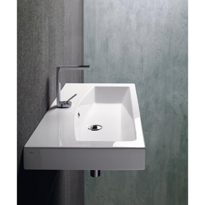 GSI Collection Losagna Modern Rectangular Ceramic Wall Mounted Vessel or Self Rimming Bathroom Sink