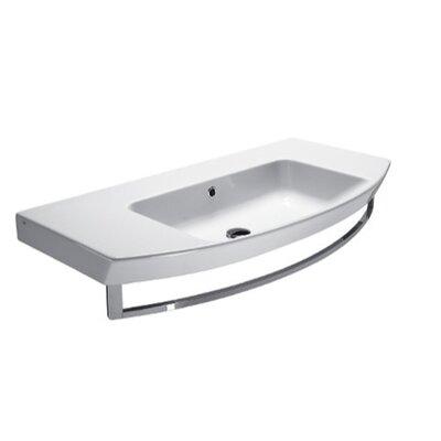 "Modo Ceramic Rectangular Drop-In Bathroom Sink with Overflow Faucet Mount: 8"" Widespread"
