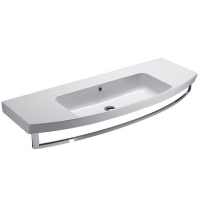 Modo Ceramic Rectangular Drop-In Bathroom Sink with Overflow Faucet Mount: No Hole