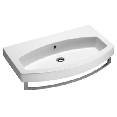"Losagna Ceramic U-Shaped Drop-In Bathroom Sink with Overflow Faucet Mount: 8"" Widespread"