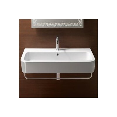 "Traccia Ceramic Rectangular Vessel Bathroom Sink with Overflow Faucet Mount: 8"" Widespread"