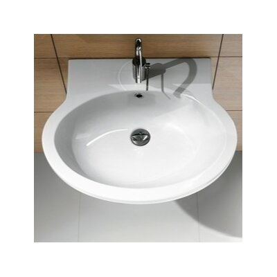 """Panorama Ceramic 22"""" Wall Mount Bathroom Sink with Overflow Faucet Mount: 8"""" Widespread"""