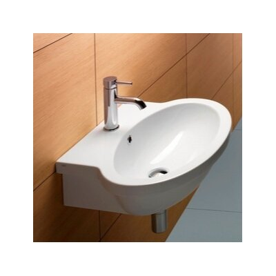 """Panorama Ceramic 24"""" Wall Mount Bathroom Sink with Overflow Faucet Mount: Single Hole"""