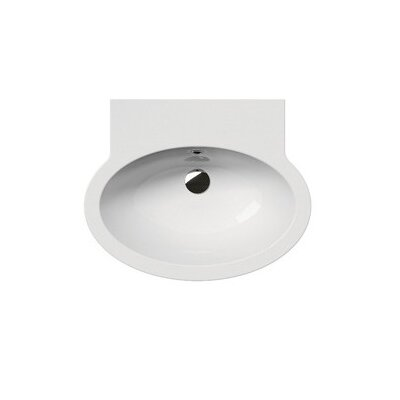 """Panorama Ceramic 24"""" Wall Mount Bathroom Sink with Overflow Faucet Mount: No Hole"""