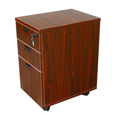 3 Drawer Mobile Pedestal Box Color: Mahogany