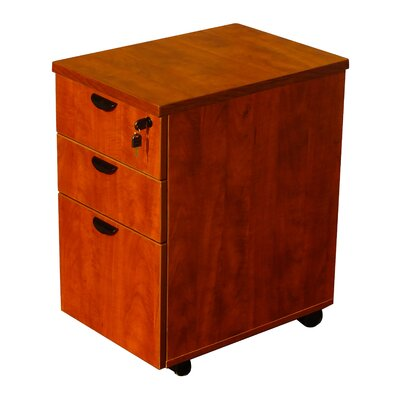 3 Drawer Mobile Pedestal Box Color: Cherry