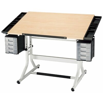 CraftMaster II Drafting Table Color: White Base & Maple Top