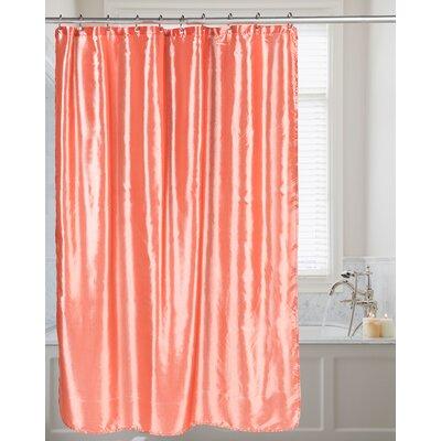 Highgate Faux Silk Shower Curtain Color: Salmon