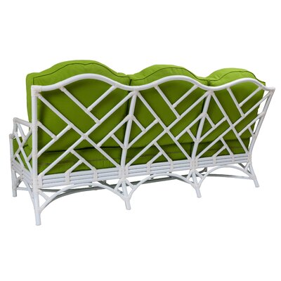 Chippendale Patio Sofa with Cushions Fabric: Natural