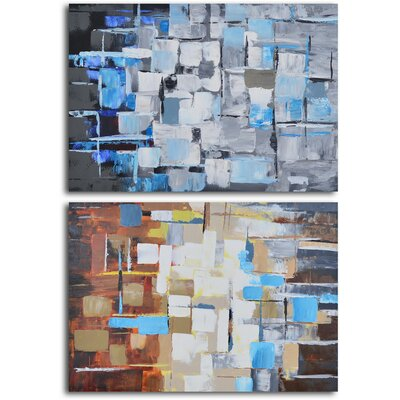 "My Art Outlet ""Seasonal Color Through Glass"" 2 Piece Original Painting on Wrapped Canvas Set"