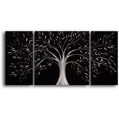 My Art Outlet Moonlit Gothic Tree 3 Piece Graphic Art Plaque Set