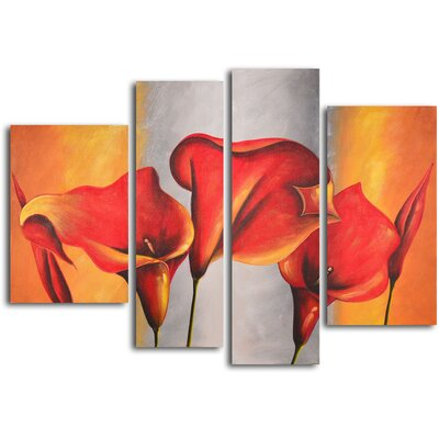 burnt orange silver lilies 4 piece original painting on