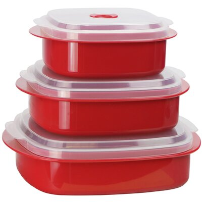 Calypso Basics 3 Container Food Storage Set (Set of 2) Color: Red