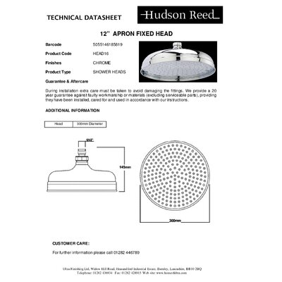 Hudson Reed Apron 30.5cm Round Fixed Shower Head