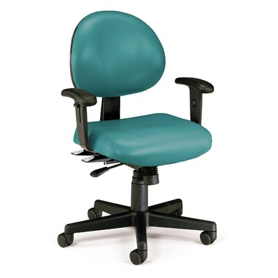 24 Hour Computer Confrence Mid-Back Desk Chair Upholstery: Teal