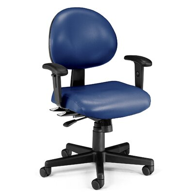 24 Hour Computer Confrence Mid-Back Desk Chair Upholstery: Navy