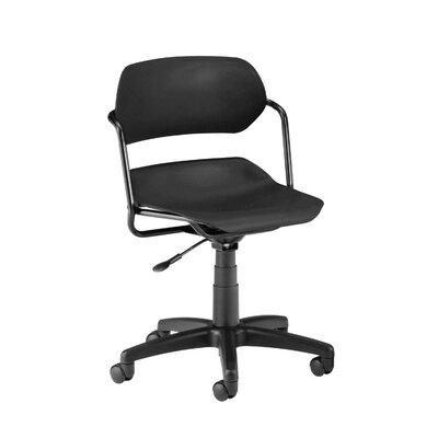 Armless Low-Back Desk Chair Frame Finish: Black, Upholstery: Navy