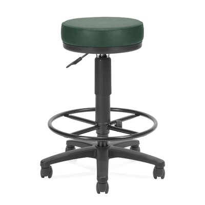 Height Adjustable Drafting Stool with Casters Upholstery: Teal Vinyl, Drafting Kit: Included