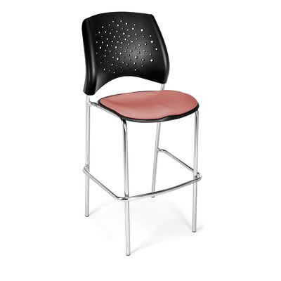 "Stars and Moon 31.25"" Bar Stool Base Finish: Chrome, Upholstery: Coral Pink"