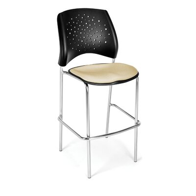 "Stars and Moon 31.25"" Bar Stool Base Finish: Chrome, Upholstery: Khaki"