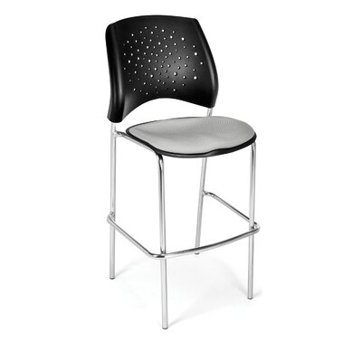 "Stars and Moon 31.25"" Bar Stool Base Finish: Chrome, Upholstery: Putty"