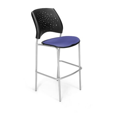 "Stars and Moon 31.25"" Bar Stool Base Finish: Silver, Upholstery: Colonial Blue"