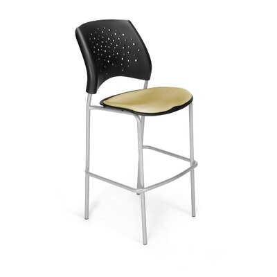 "Stars and Moon 31.25"" Bar Stool Base Finish: Silver, Upholstery: Golden Flax"
