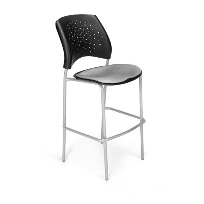 """Stars and Moon 31.25"""" Bar Stool Base Finish: Silver, Upholstery: Putty"""