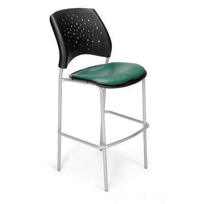 "Stars and Moon 31.25"" Bar Stool Base Finish: Silver, Upholstery: Vinyl Teal"