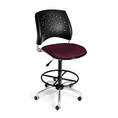 Stars and Moon Mid-Back Drafting Chair Arms: Not Included, Upholstery: Burgundy