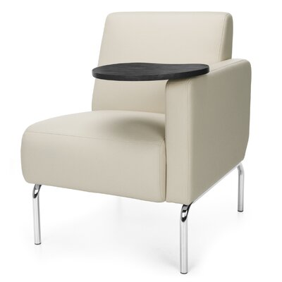 Triumph Series Lounge Chair with Tablet Arm Options: Left, Finish: Tungsten, Color: Cream