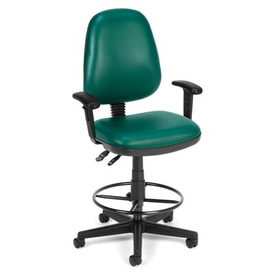 Mid-Back Drafting Chair Upholstery: Teal, Arms: Included