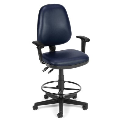 Mid-Back Drafting Chair Upholstery: Navy, Arms: Included