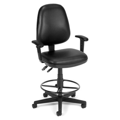Mid-Back Drafting Chair Upholstery: Black, Arms: Included