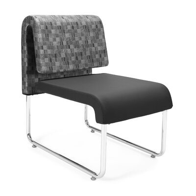 UNO Chair (Set of 2) Fabric: Fabric Back/PVC Free Polyurethane Seat, Color: Nickel Back - Black Seat