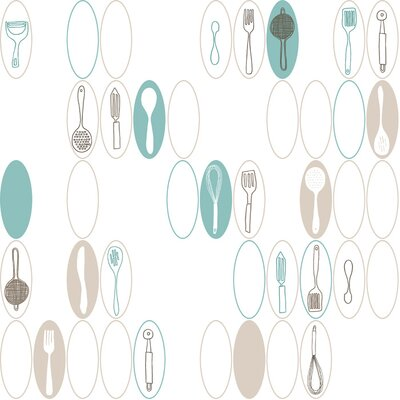 York Wallcoverings Bistro 750 33' x 20.5'' Kitchen Utensils Food and Beverage Foiled Wallpaper