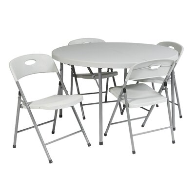 """Office Star Products 5 Piece 48"""" Round Folding Table Set"""