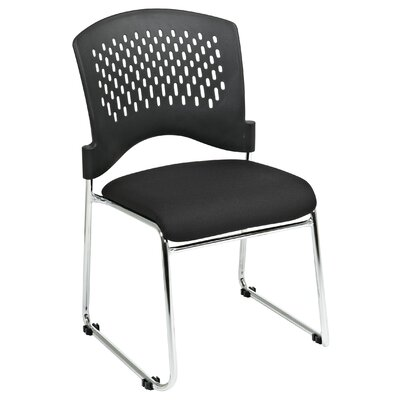 Plastic Back SpringFlex Fabric Seat Visitors Office Chair with Chrome Frame Sled Base, Gangable and Stackable