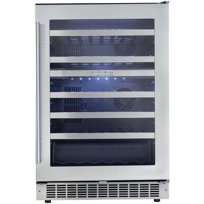 51 Bottle Silhouette Dual Zone Built-In Wine Cooler