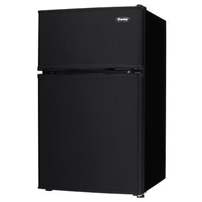 Two Door Compact 3.2 cu. ft. Compact/Mini Refrigerator with Freezer Color: Black