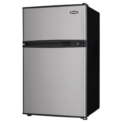 Two Door Compact 3.2 cu. ft. Compact/Mini Refrigerator with Freezer Color: Stainless Steel