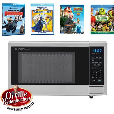"""Movie Night with Orville Redenbacher's Certified 20"""" 1.1 cu.ft. Countertop Microwave with 4 Blu-ray 3D Movies"""