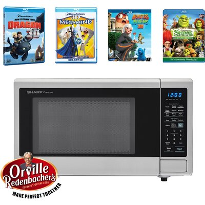 """Movie Night with Orville Redenbacher's Certified 21"""" 1.4 cu.ft. Countertop Microwave with 4 Blu-ray 3D Movies"""